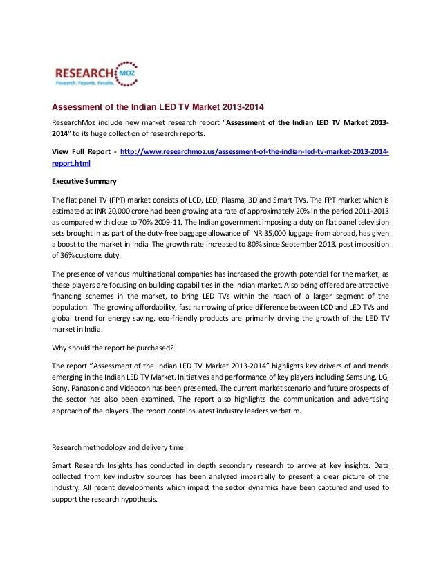 """Assessment of the Indian LED TV Market 2013-2014 ResearchMoz include new market research report """"Assessment of the Indian ..."""