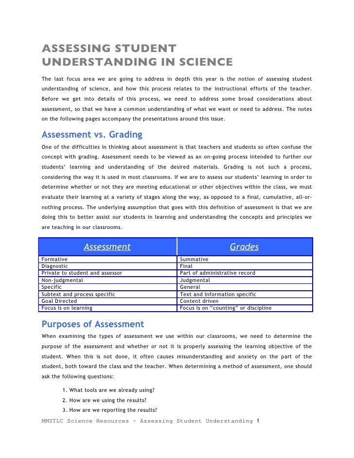 ASSESSING STUDENT UNDERSTANDING IN SCIENCE The last focus area we are going to address in depth this year is the notion of...