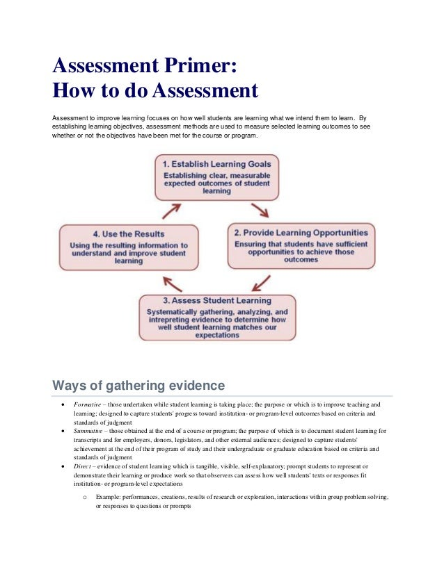 Assessment Primer: How to do Assessment Assessment to improve learning focuses on how well students are learning what we i...