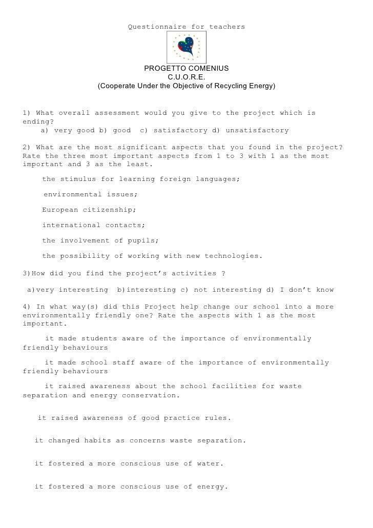 Questionnaire for teachers                                 PROGETTO COMENIUS                                    C.U.O.R.E....