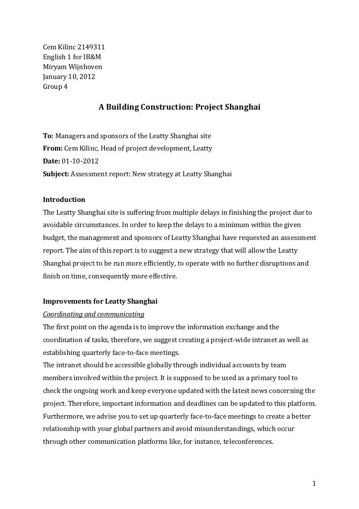 Cem Kilinc 2149311English 1 for IB&MMiryam WijnhovenJanuary 10, 2012Group 4                  A Building Construction: Proj...