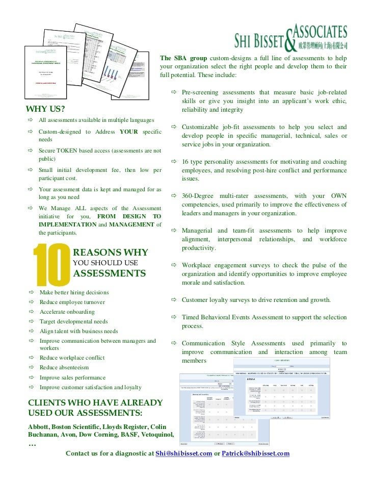 The SBA group custom-designs a full line of assessments to help                                                    your or...