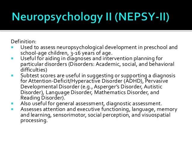 Assessments for mental disorders for Motor planning disorder symptoms