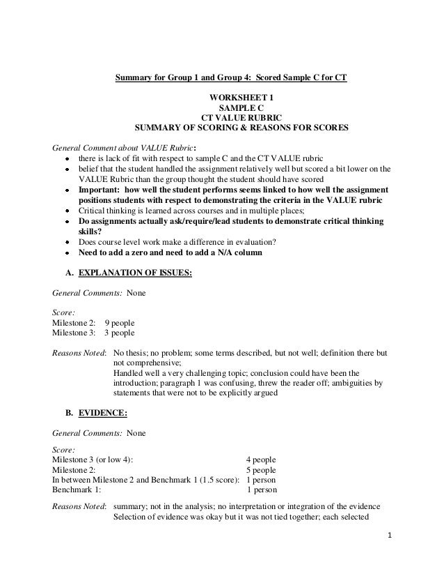1Summary for Group 1 and Group 4: Scored Sample C for CTWORKSHEET 1SAMPLE CCT VALUE RUBRICSUMMARY OF SCORING & REASONS FOR...
