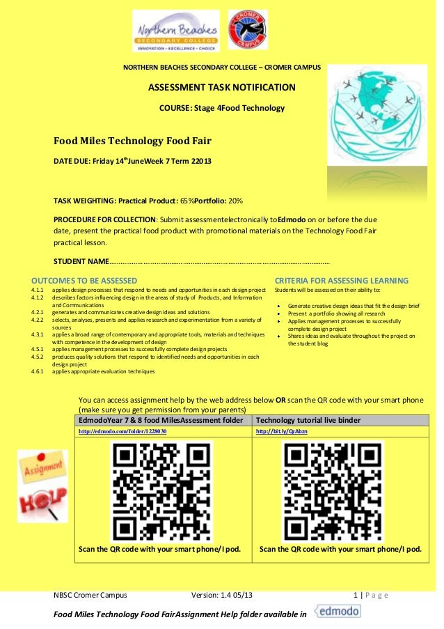 NBSC Cromer Campus Version: 1.4 05/13 1 | P a g eFood Miles Technology Food FairAssignment Help folder available inNORTHER...