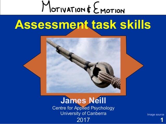 1 Motivation & Emotion Dr James Neill Centre for Applied Psychology University of Canberra 2016 Image source Assessment ta...