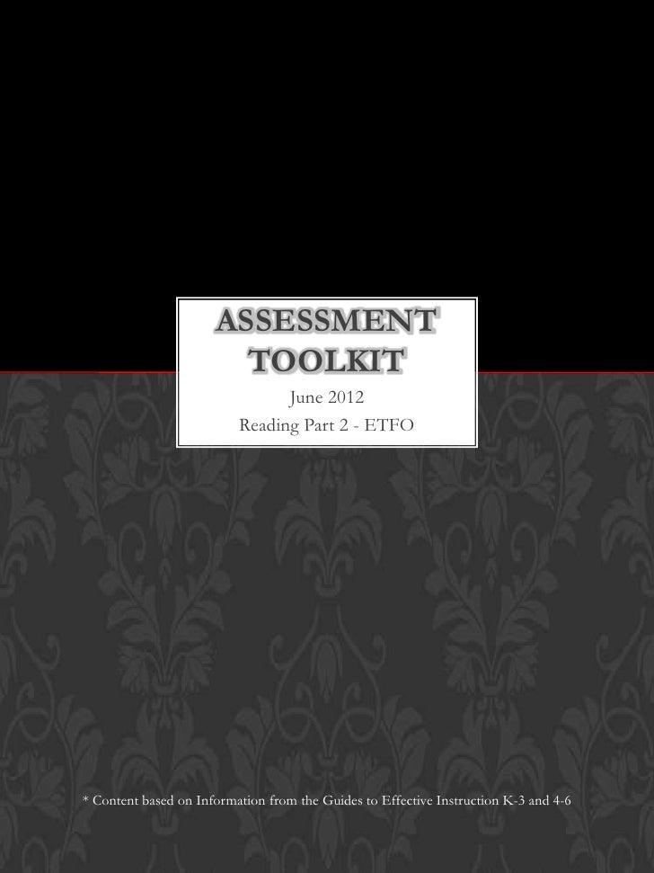 ASSESSMENT                        TOOLKIT                                June 2012                          Reading Part 2...