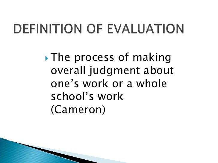 bon DEFINITION OF EVALUATIONu003cbr ...