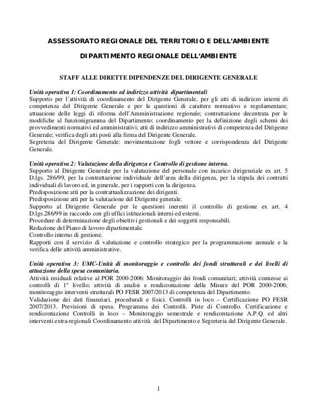 1 ASSESSORATO REGIONALE DEL TERRITORIO E DELL'AMBIENTE DIPARTIMENTO REGIONALE DELL'AMBIENTE STAFF ALLE DIRETTE DIPENDENZE ...