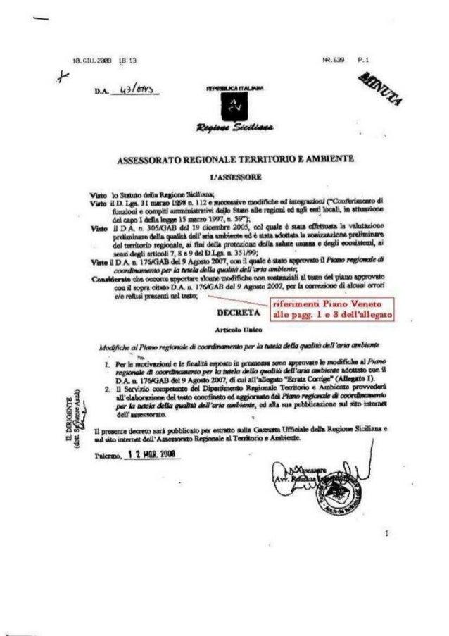 Assessore interlandi decreto 43 marzo 2008 corregge refusi ed assurdita' siculo padane del piano  aria sicilia (1)