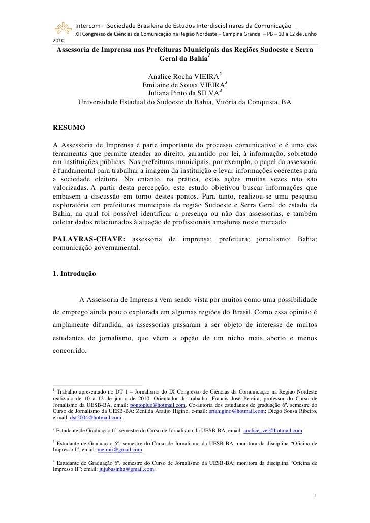 Intercom – Sociedade Brasileira de Estudos Interdisciplinares da Comunicação            XII Congresso de Ciências da Comun...