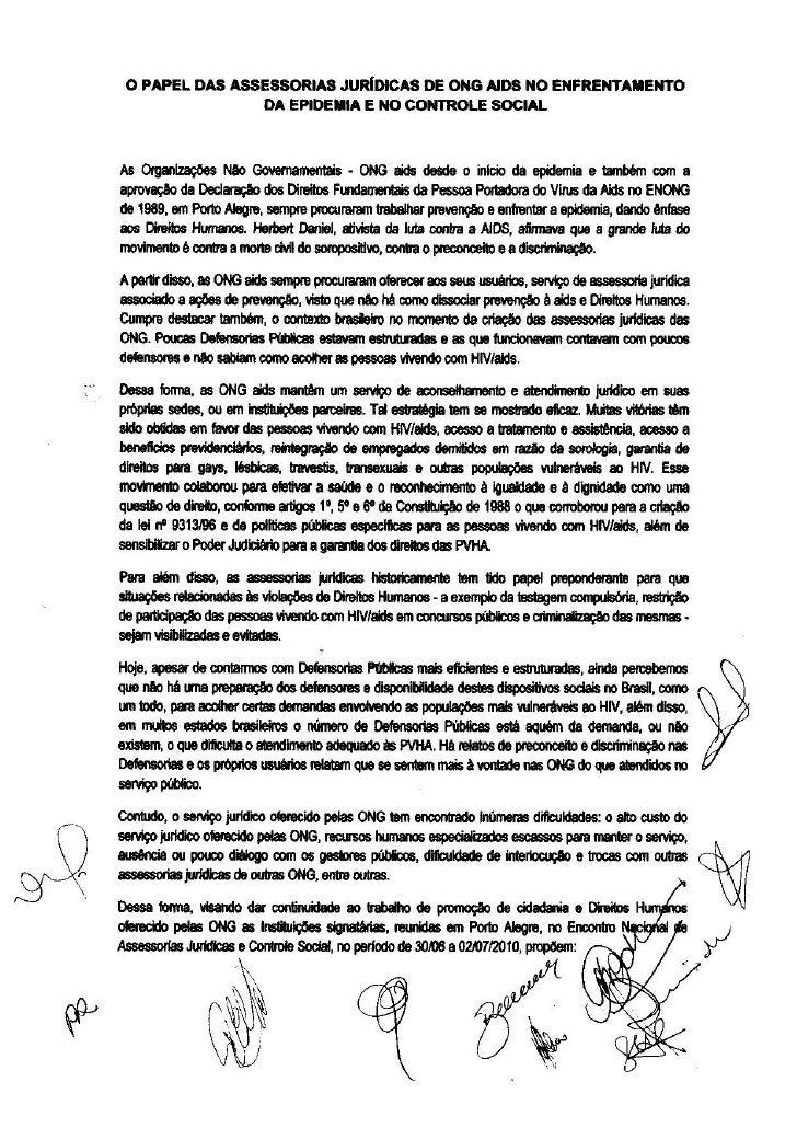 O Papel das Assessorias Jurídicas de ONG AIDS no enfrentamento de epidemia e no controle social