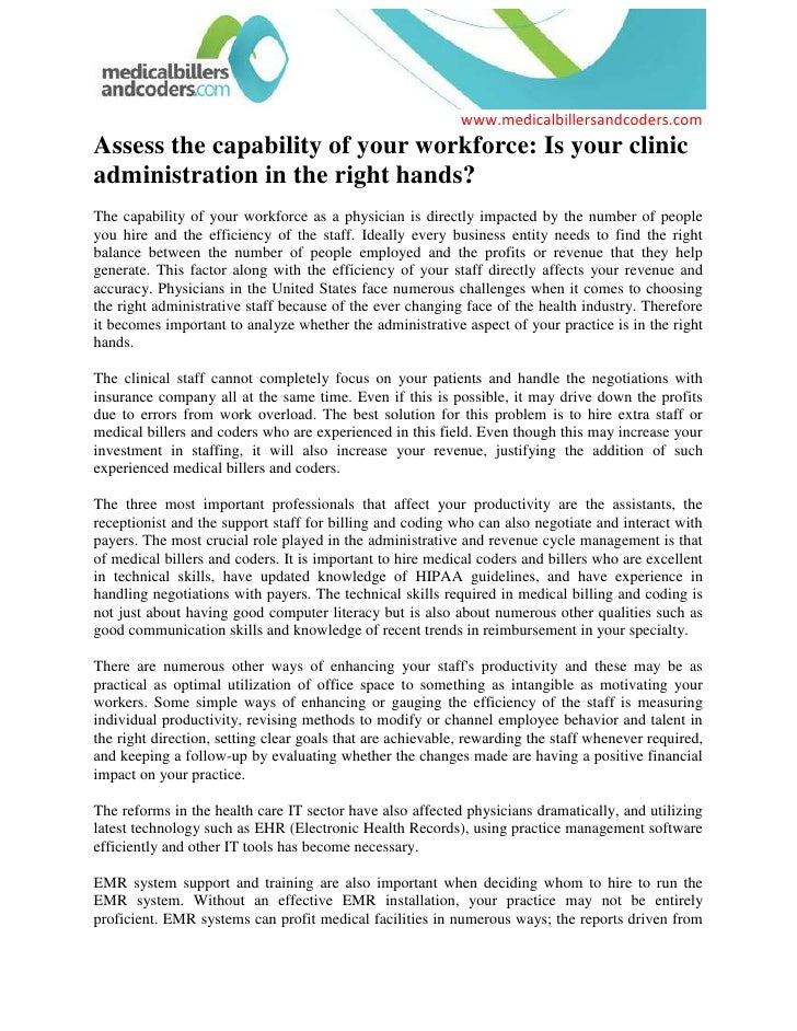 Assess the capability of your workforce: Is your clinic administration in the right hands?<br />The capability of your wor...