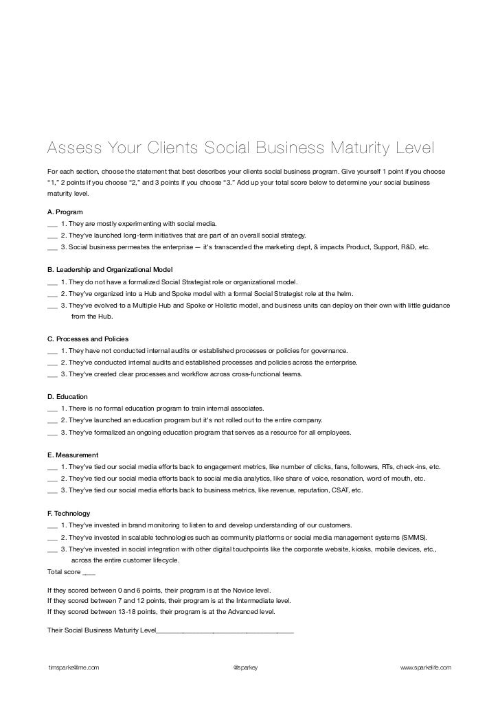Assess Your Clients Social Business Maturity LevelFor each section, choose the statement that best describes your clients ...