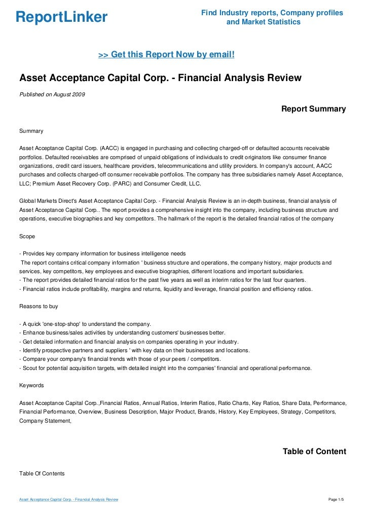 Asset Acceptance Capital Corp. - Financial Analysis Review