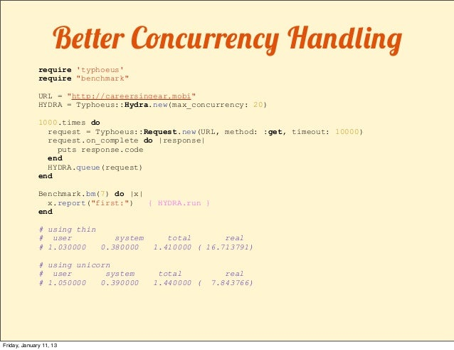"""Better Concurrency Handling              require typhoeus              require """"benchmark""""              URL = """"http://care..."""