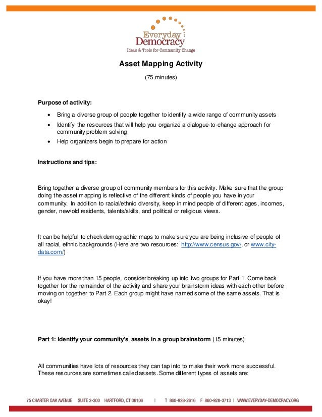 Asset Mapping Activity (75 minutes) Purpose of activity:  Bring a diverse group of people together to identify a wide ran...