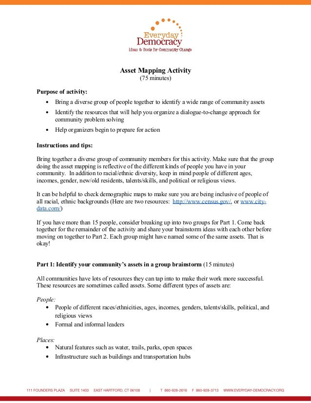 Asset Mapping Activity (75 minutes) Purpose of activity: • Bring a diverse group of people together to identify a wide ran...