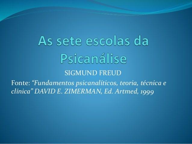 """SIGMUND FREUD Fonte: """"Fundamentos psicanalíticos, teoria, técnica e clínica"""" DAVID E. ZIMERMAN, Ed. Artmed, 1999"""