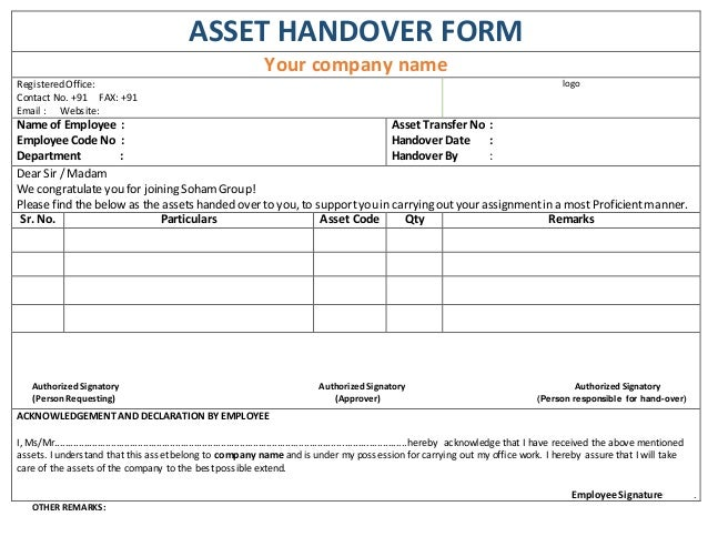 Asset handover form for Handing over notes template
