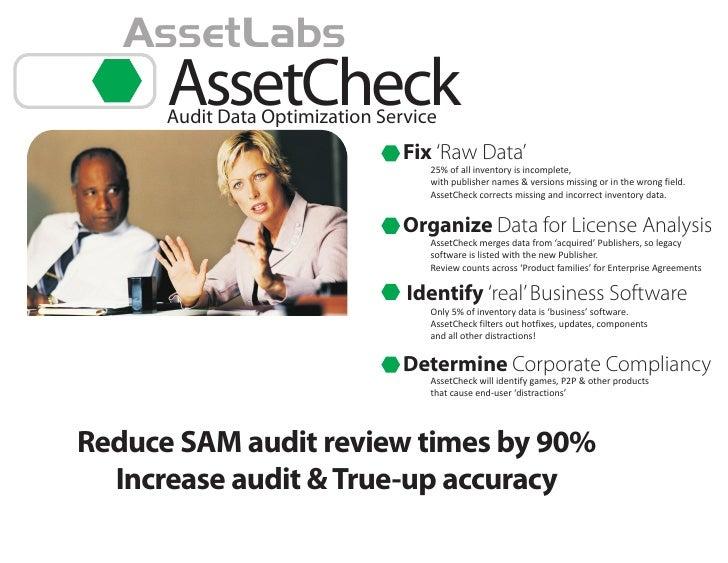 AssetLabs       AssetCheck       Audit Data Optimization Service                                  Fix 'Raw Data'          ...