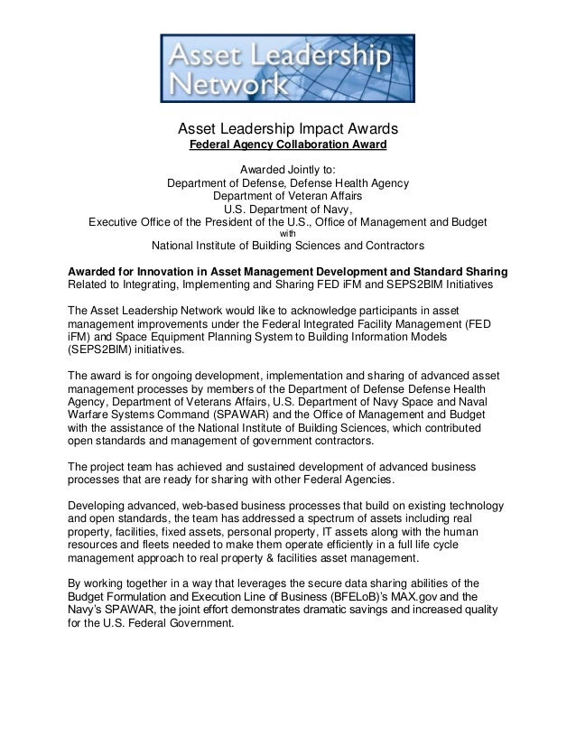 Asset Leadership Impact Awards Federal Agency Collaboration Award Awarded Jointly to: Department of Defense, Defense Healt...
