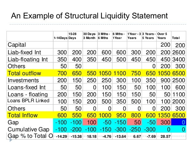 Asset liability management in banks for Liquidity report template
