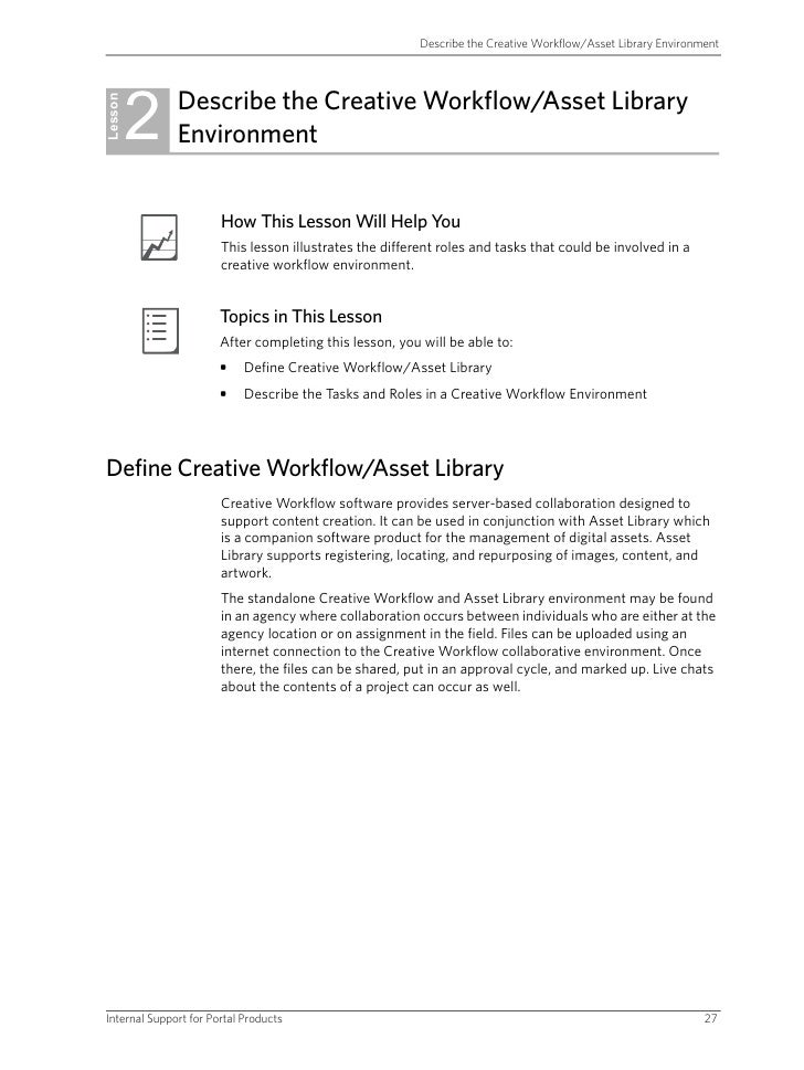 Describe the Creative Workflow/Asset Library Environment              2    Describe the Creative Workflow/Asset Library Le...