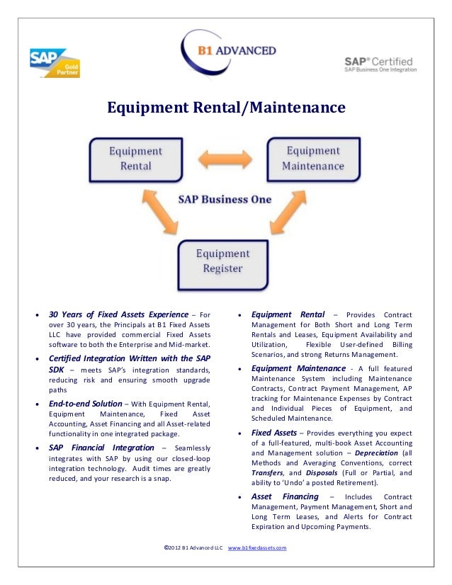 Equipment Rental/Maintenance   30 Years of Fixed Assets Experience – For                 Equipment Rental – Provides Con...