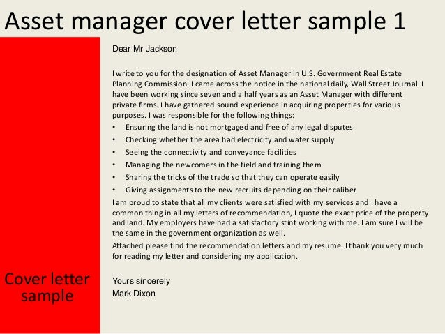 2 asset manager cover letter sample. Resume Example. Resume CV Cover Letter
