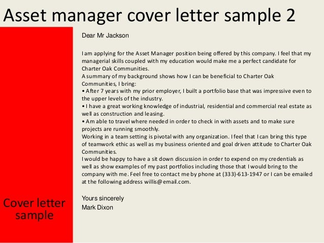 Asset manager cover letter for Applying for management position cover letter