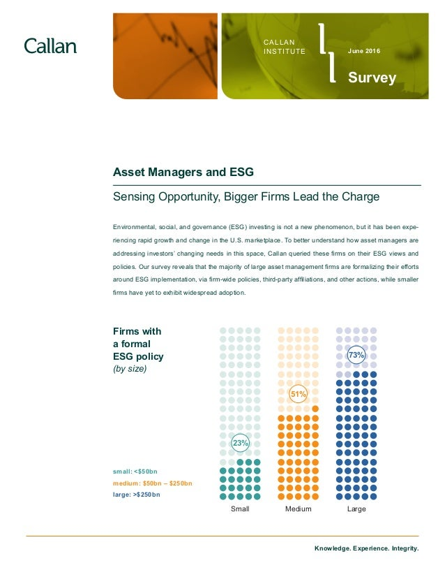 Knowledge. Experience. Integrity. CALLAN INSTITUTE Survey June 2016 Asset Managers and ESG Sensing Opportunity, Bigger Fir...