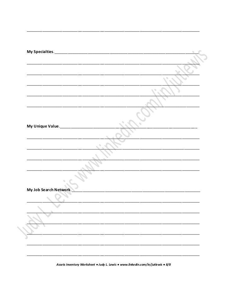 Assets inventory worksheet job search 12 essential steps for a satis – Job Search Worksheet