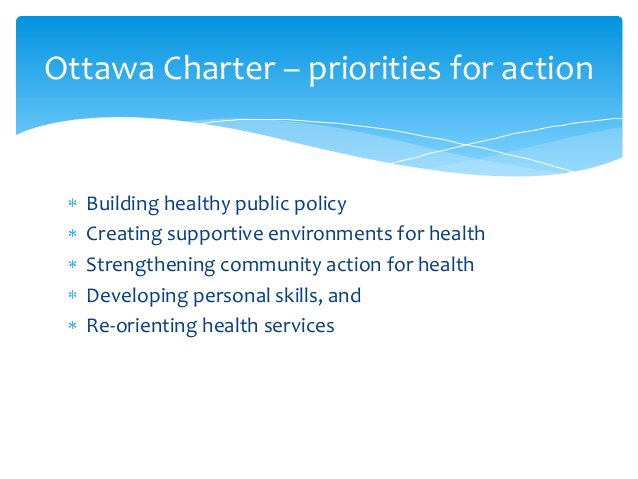 Building healthy public policy Creating supportive environments for health Strengthening community action for health Devel...