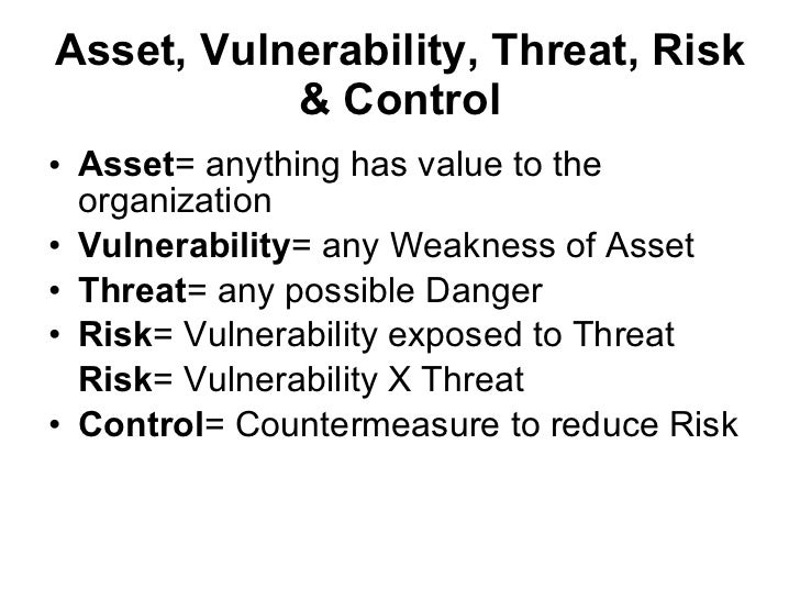 risk threat vulnerability The r=tvc formula incorrectly assumes threat and vulnerability are independent we are now in a position to see why the r=tvc formula violates the fourth axiom of the probability calculus here are the doe definitions of threat and vulnerability again.