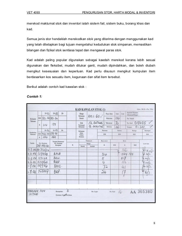 Vet 4093 Pengurusan Stor Harta Modal Dan Inventori