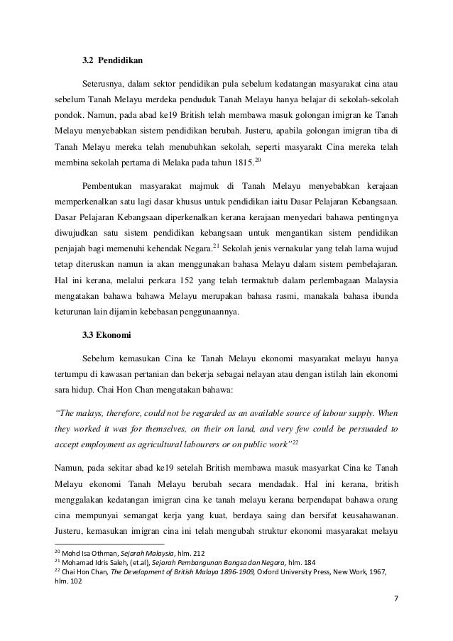 Kesan Kedatangan Masyarakat Cina Ke Tanah Melayu