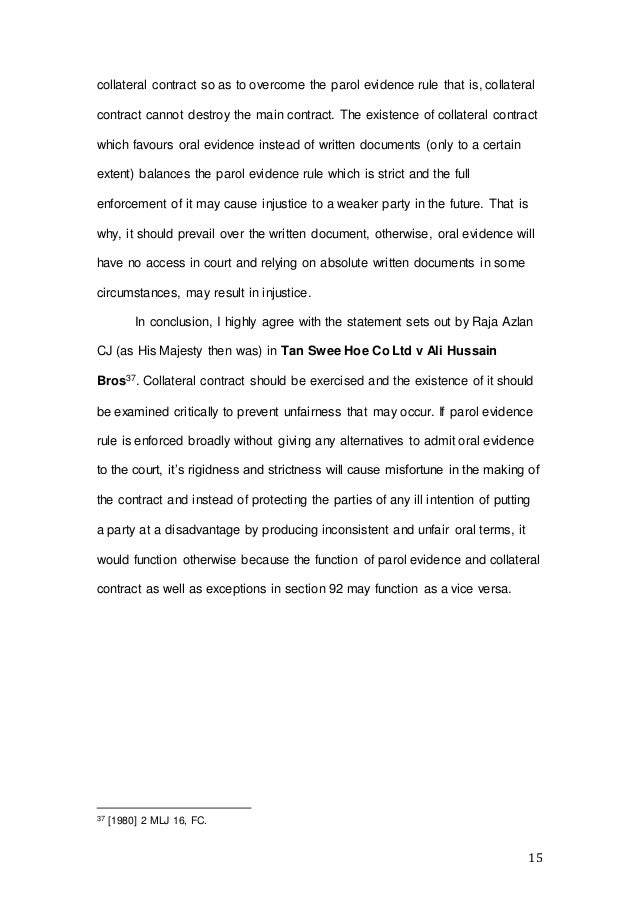 parol evidence rule contract law  15 15 collateral contract