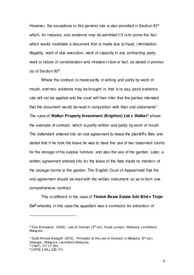 Parol Evidence Rule Contract Law Malaysia