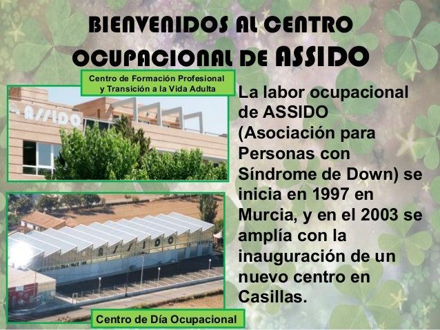 BIENVENIDOS AL CENTROOCUPACIONAL DE ASSIDOLa labor ocupacionalde ASSIDO(Asociación paraPersonas conSíndrome de Down) seini...