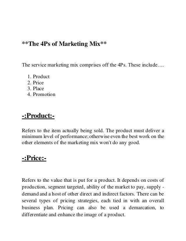 marketing mix assignment