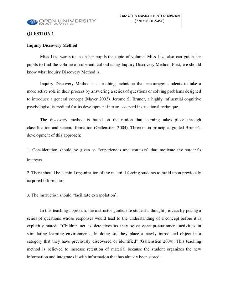 ZAMATUN NASRAH BINTI MARWAN                                                              (770218-01-5450)QUESTION 1Inquiry...