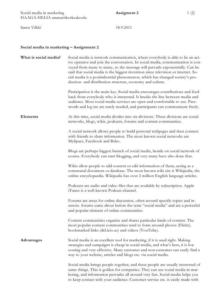 Social media in marketing                            Assigment 2                                 1 (2)HAAGA-HELIA ammattik...