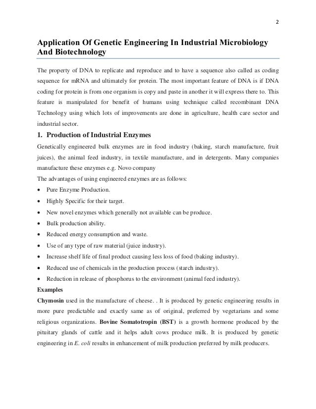 biotechnology and genetic engineering essay