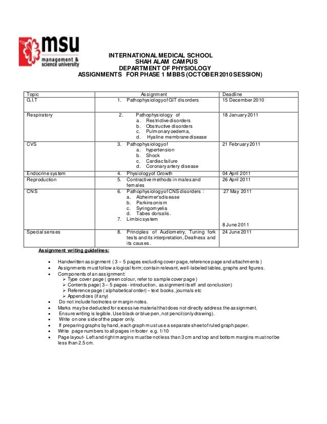 INTERNATIONAL MEDICAL SCHOOL SHAH ALAM CAMPUS DEPARTMENT OF PHYSIOLOGY ASSIGNMENTS FOR PHASE 1 MBBS (OCTOBER2010 SESSION) ...