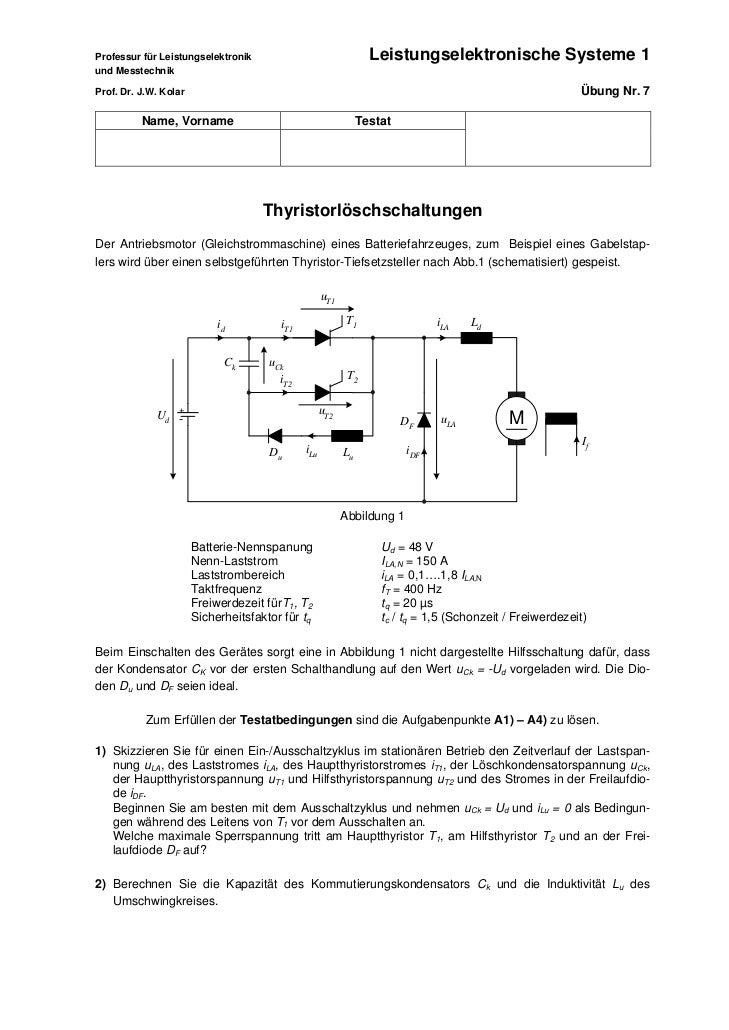 Professur für Leistungselektronik                                Leistungselektronische Systeme 1und MesstechnikProf. Dr. ...