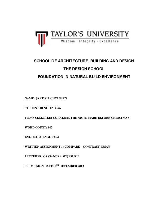 SCHOOL OF ARCHITECTURE, BUILDING AND DESIGN THE DESIGN SCHOOL FOUNDATION IN NATURAL BUILD ENVIRONMENT  NAME: JAKE SIA CHYI...