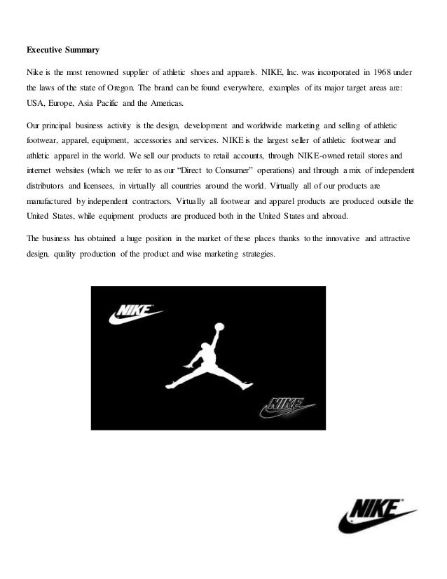 nike cost of capital executive summary How to write an executive summary: is it any good the most important element to any executive summary is a clear, concise, and relevant explanation of what your company does.