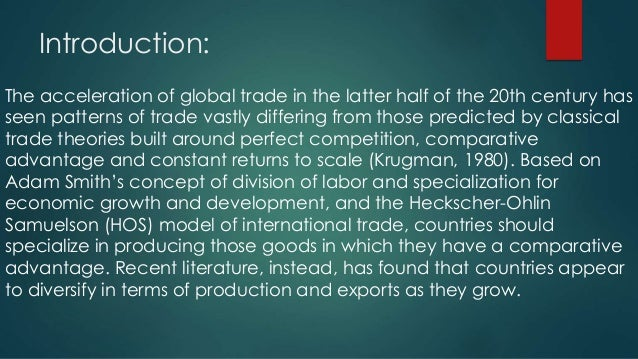 export diversification Export diversification, by definition is the changing of a country's export structure this can be attained by changing the existing basket of commodities or by embellishing them through innovation and technology dennis and shepherd (2007) define export diversification as widening the range of products that a country exports.