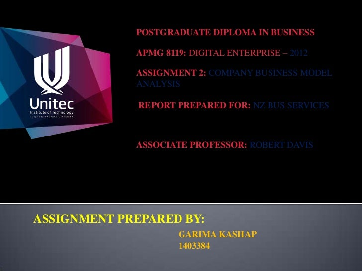 POSTGRADUATE DIPLOMA IN BUSINESS             APMG 8119: DIGITAL ENTERPRISE – 2012             ASSIGNMENT 2: COMPANY BUSINE...